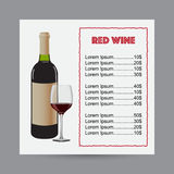 Menu for red wine with bottle of wine and glass of wine. Royalty Free Stock Images