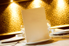 Menu for Restarurant. Blank Menu in plate and restaurant environment Royalty Free Stock Photos