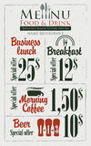 Menu for the restaurant. Board menu for the restaurant with the prices for business lunches, breakfast and coffee Royalty Free Stock Photo