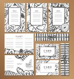 Menu restaurant brochure,Name card and labal. Food design template.Black and white stock illustration