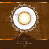 Menu for restaurant, cafe, bar, coffeehouse. With caffee cup, wood grunge background and lace frame Royalty Free Stock Photo