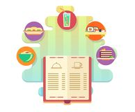 Menu of restaurant or cafe flat style Stock Images