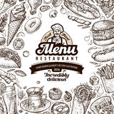 Menu restaurant, cafe template design. sketch food Royalty Free Stock Photography