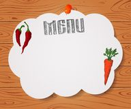 Menu of restaurant with chilli pepper and carrot on paper on Woo. Menu of restaurant with hand drawn chilli pepper and carrot on paper on Wooden background Royalty Free Stock Images