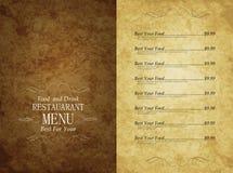 Menu restaurant Stock Photography