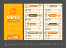 Menu Restaurant Design Template. Vector. Menu Restaurant Design Template Fast Service Delivery Food and Line Icon Set. Vector illustration of Three page menus Royalty Free Stock Image