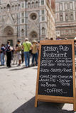 menu   restaurant in Florence , Italy Royalty Free Stock Photos