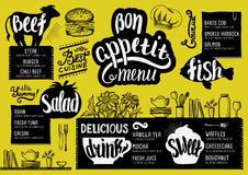 Menu restaurant, food template. Food menu for restaurant and cafe. Design template with hand-drawn graphic elements in doodle style Royalty Free Stock Photo