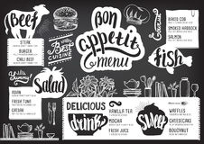 Menu restaurant, food template. Food menu for restaurant and cafe. Design template with hand-drawn graphic elements in doodle style Stock Photos