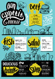Menu restaurant, food template. Food menu for restaurant and cafe. Design template with hand-drawn graphic elements in doodle style Royalty Free Stock Images