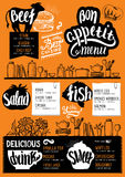 Menu restaurant, food template. Food menu for restaurant and cafe. Design template with hand-drawn graphic elements in doodle style Royalty Free Stock Image