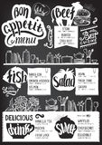 Menu restaurant, food template. Food menu for restaurant and cafe. Design template with hand-drawn graphic elements in doodle style Stock Images