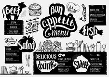 Menu restaurant, food template. Food menu for restaurant and cafe. Design template with hand-drawn graphic elements in doodle style Stock Photography
