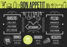 Menu restaurant, food template placemat. Royalty Free Stock Photos