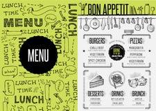 Menu restaurant, food template placemat. Stock Photos