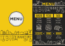 Menu restaurant, food template placemat. Stock Photo