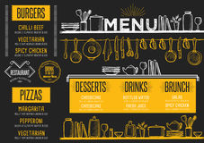 Menu restaurant, food template placemat. Cafe menu food placemat brochure, restaurant template design. Creative vintage brunch flyer with hand-drawn graphic Stock Image