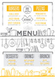 Menu restaurant, food template placemat. Royalty Free Stock Images