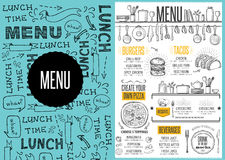 Menu restaurant, food template placemat. Royalty Free Stock Photography