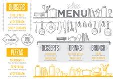 Menu restaurant, food template placemat. Stock Image