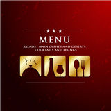 Menu restaurant with golden icon. In ground background Royalty Free Stock Photos