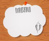 Menu of restaurant with hand drawn chilli pepper on paper on Woo Stock Photo