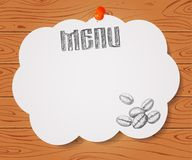 Menu of restaurant with hand drawn coffee beans on paper and Woo. Den drawn background Stock Images