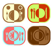 Menu or restaurant icons. Vector illustration Royalty Free Stock Photos