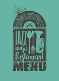 Menu for the restaurant with jazz music Stock Image