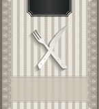 Menu restaurant lace natural paper 3D cutlery Stock Photo
