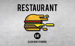 Menu Restaurant Order Now Online Burger Fast Food Concept Stock Images