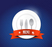 Menu restaurant with plate illustration design Stock Image