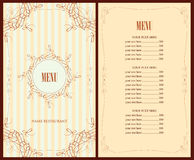 Menu for the restaurant Royalty Free Stock Photography