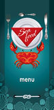 Menu for restaurant sea food. With crab Royalty Free Stock Image