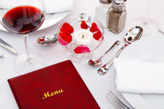 Menu on a restaurant table royalty free stock photography
