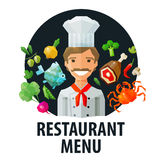 Menu, restaurant vector logo design template. chef Royalty Free Stock Photos