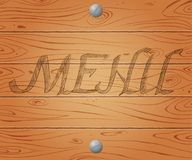 Menu of restaurant on wooden texture background Royalty Free Stock Images