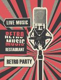 Menu for retro music restaurant with microphone vector illustration