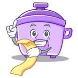 With menu rice cooker character cartoon Stock Photo