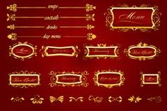 Menu rosso reale del ristorante con l'elemento caligraphic Fotografia Stock Libera da Diritti