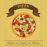 Menu saporito italiano della pizza Immagine Stock