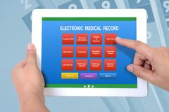 Menu screen of electronic medical record on tablet. royalty free stock image