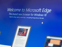 Menu screen of new Windows 10 focussed on Mirosoft Edge icon. Bangkok, Thailand - August 16, 2015; Welcome screen of Mirosoft Edge. The browser is bundle with Royalty Free Stock Image
