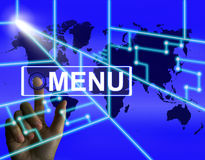 Menu Screen Refers to International Choices and Options Royalty Free Stock Image