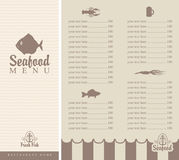 Menu for seafood. Booklet menu for seafood with small fish Royalty Free Stock Photography