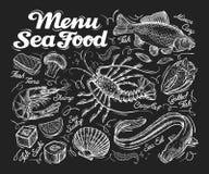 Menu seafood. Hand drawn fish carp, sea eel, scallops, shrimp, lobster, sushi. vector illustration Stock Photos