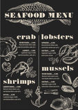 Menu seafood restaurant, food template placemat. Royalty Free Stock Images
