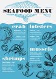 Menu seafood restaurant, food template placemat. Stock Photo