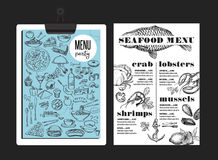 Menu seafood restaurant, food template placemat. Royalty Free Stock Photography