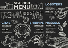 Menu seafood restaurant, food template placemat. Stock Image